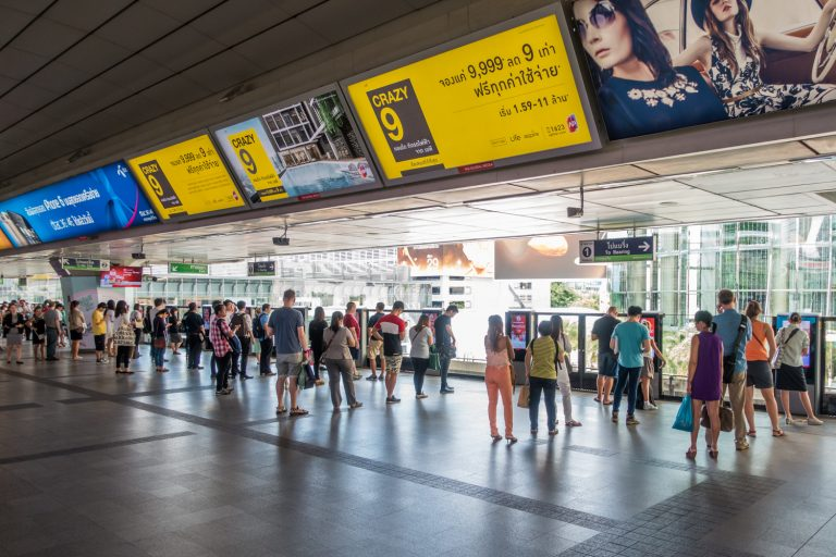 Queueing in line for the Bangkok BTS Skytrain