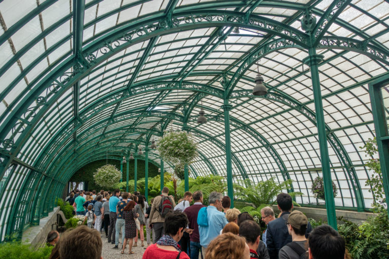 Queueing inside the Royal Greenhouses
